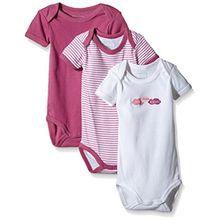 NAME IT Baby-Mädchen Body NITBODY SS NB G NOOS, 3er Pack, Gr. 62, Mehrfarbig (Red Violet)