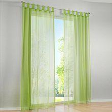 Souarts Grün Transparent Gardine Vorhang Schlaufenschal Deko für Wohnzimmer Schlafzimmer Studierzimmer 140x145cm Nur Ein Schlaufenschal