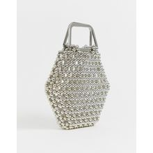 ASOS EDITION - Sechseckige Tasche mit Perlenverzierung - Silber