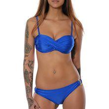 Damen Badeanzug Twist Push-Up Bikini-Set in angesagten Farben No 15571, Farbe:Blau;Größe:40 / L