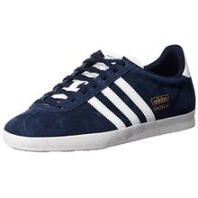 adidas Gazelle OG, Unisex-Erwachsene Sneakers, Blau (Dark Indigo/Running White Ftw/Metallic Gold), 44 EU (9.5 Erwachsene UK)