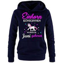 Einhorn Königinnen wurden im Juni geboren ! Damen HOODIE Sweatshirt mit Kapuze Navy, Gr.S