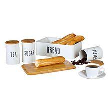 Neue Lösungen Retro Brotkasten Plus Kaffee, Tee-und Zuckerkanister Combo mit Eco Bambusdeckeln, Metall, Weiß, 33.5 x 21.5 x 12 cm