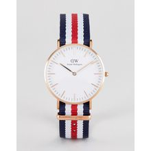 Daniel Wellington - Canterbury - Klassische Uhr mit Canvas-Armband, 36 mm - Rot