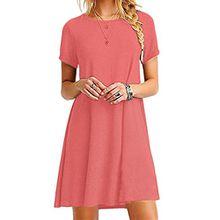 YMING Damen Kurzarm Kleid Lose T-Shirt Kleid Rundhals Casual Tunika Mini Kleid,Koralle,M / DE 38-40