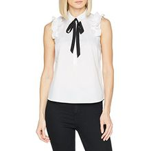 comma Damen Bluse 81.803.13.4593, Weiß (White 0100), 38
