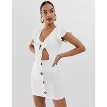 In The Style - Button-down-Kleid mit Bindegürtel - Weiß