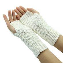 Bluelans® Strick Armstulpen Pulswärmer fingerlos Handschuhe Damenhandschuhe Winterhandschuhe Fäustlinge Fausthandschuhe (Weiß)