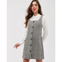 Mango - Buntes Kleid mit Hahnentrittmuster, Knopfleiste und eckigem Ausschnitt - Grau