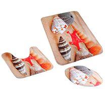 MagiDeal 3pcs Badematten Set Badezimmer Non-Slip Sockel Teppich + Deckel WC-Abdeckung + Badematte - Strand-Muschel, One Size