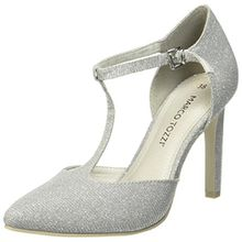Marco Tozzi Damen 24401 T-Spangen Pumps, Grau (Grey Metallic), 39 EU