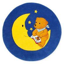 Spiegelburg Kinderteppich Mondbär, 130 cm rund blau