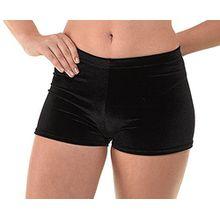 Schwarze Samt-Hüfthose für Mädchen; für Tanz oder Gymnastik. Gr. 128, schwarz