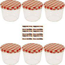 Viva Haushaltswaren #12895# - 6 x kleines Marmeladenglas / Einmachglas 230 ml mit Deckel, Twist-off Gläser Set in Sturzform -als Einweckgläser, Vorratsdosen etc. verwendbar (inkl. Beschriftungsetiketten)