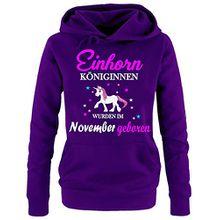 Einhorn Königinnen wurden im November geboren ! Damen HOODIE Sweatshirt mit Kapuze LILA, Gr.M