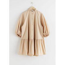 Voluminous Puff Sleeve Mini Dress - Beige