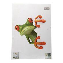 TOOGOO(R) Verrueckter Gruener Frosch Badezimmer Toilette Sitz Deckel Abziehbild Sticker