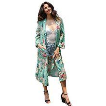 Drucken Cardigan Kimono mit Gürtel Sommer Langarm Lange Mäntel Damen Edler Morgenmantel aus Glatte Satin