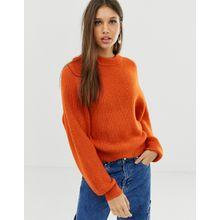 ASOS DESIGN - Flauschiger Pullover mit Ballonärmeln - Orange