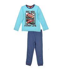 Disney Cars Lightning McQueen (2145) Kinder Pyjama aus Baumwolle, Schlafanzug Set mit langarm Shirt und langer Hose, Blau, Gr. 128