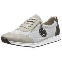 Rieker 56021 Women Low-Top, Damen Sneakers, Grau (grey/grey/schwarz/40), 38 EU