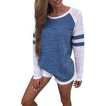 Sweatshirt T-shirt,Dasongff Mode Damen Langarm Gestreift Strick Spleiß-Blusen Oberseiten Langshirt T-Shirt Oberteil Tops (S, Blua)