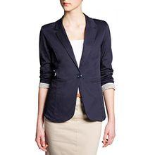 CASPAR BZR003 Damen leichter eleganter Sommer Blazer Damenblazer 3/4 Arm / Slim Fit, Farbe:dunkelblau;Größe:42 XL UK14 US12