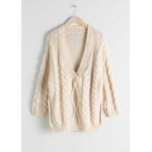 Organic Cotton Cable Knit Sweater - White