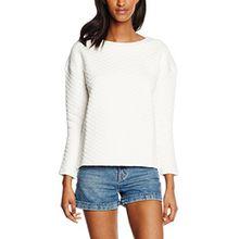 Tommy Jeans Hilfiger Denim Damen Sweatshirt Thdw CN Hknit L/S 13, Weiß (Egret 003), 40 (Herstellergröße: L)