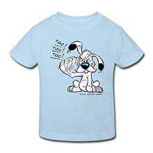 Spreadshirt Asterix & Obelix Idefix Klopft Toc Toc Toc Kinder Bio-T-Shirt, 134/140 (9-10 Jahre), Hellblau