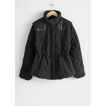 Quilted Faux Leather Panel Jacket - Black