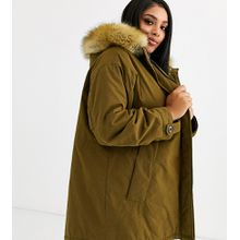 ASOS DESIGN Curve - Ultimate - Parka in Khaki - Grün