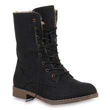 Damen Stiefeletten Worker Boots Leder-Optik Schnürstiefeletten Camouflage Verlours Schuhe 109655 Schwarz Agueda Autol 39 Flandell