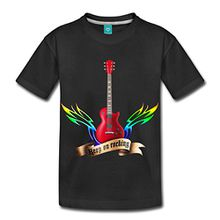 Spreadshirt Guitars And Wings Keep On Rocking Gitarre Kinder Premium T-Shirt, 134/140 (8 Jahre), Schwarz