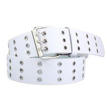 Nietengürtel in weiß Jeansgürtel Gürtel für Damen und Herren 3 reihig | Bundweite 95cm = Gesamtlänge 110cm | 3,7cm breit