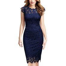 Miusol Damen Elegant Kleid Rundhals Knilanges Spitzenkleid Ball Stretch Abendkleider Navy Blau XL