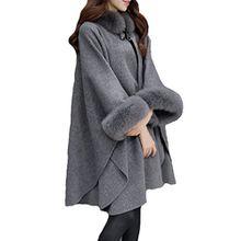 Damen Hooded Faux-Pelz-Mantel Long Strickjacke Lange Ärmel Dicke Wollmischung Graben Outwear Vintage Cape Poncho-Mantel-Jacke Plus Size Grey