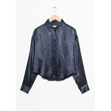 Boyfriend Fit Jacquard Shirt - Blue