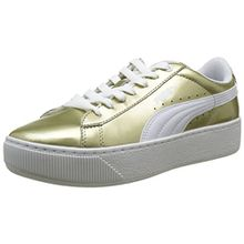 Puma Damen Vikky Platform Metallic Sneakers, Beige (Metallic Gold White 01), 41 EU