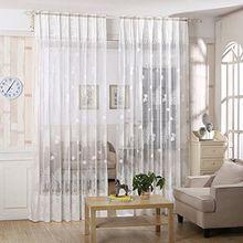 LianLe Gardine Vorhang Blatt Baum Druck Voile für Wohnzimmer Kinderzimmer 100x250cm (Weiß)