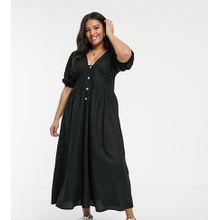 ASOS DESIGN Curve - Maxi-Leinenkleid mit Knöpfen und überkreuztem Design am Rücken - Schwarz