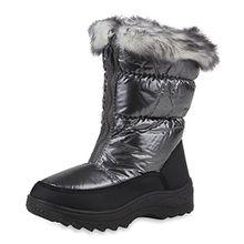 Warm Gefütterte Kinder Snowboots Winter Stiefel Modische Boots Schuhe 108350 Grau 31 Flandell