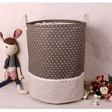 Soriace aufbewahrung, premium foldable cotton line Wäschekorb Klapp Kinder Spielzeug organizer Spielzeug aufbewahrung Spielzeug Warenkorb Kleidung Halter wäschebox mit Deckel gepunktet, Kaffee