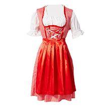Manfis Trachtenmode Damen Trachtenkleid Dirndl mit Bluse und Schürze Oktoberfest 3 teilig Rot 38