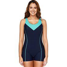 CharmLeaks Damen Einteiler Sport Badeanzug mit Bein Hotpants Kontrast Rückenfrei Bademode Sport Swimsuit Nachtblau L
