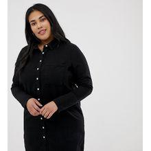 ASOS DESIGN Curve - Schwarzes Hemdkleid aus Denim - Schwarz