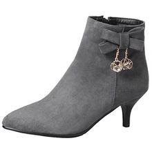 AIYOUMEI Damen Kleiner Absatz Stiefeletten mit Schleife und Strass Bequem Ankle Boots Herbst Winter Schuhe
