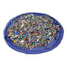 Anladia 150cm Blau Kinder Spielmatte Aufräumsack faltbar & tragbar Spieldecke Spielzeug Speicher Tasche Beutel Teppich Spielzeug Aufbewahrungstasche Organizer