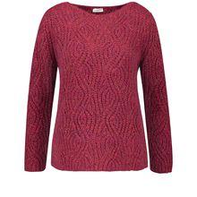 Gerry Weber Pullover Langarm Rundhals Pullover mit Strukturstrick Sweatshirts rot Damen