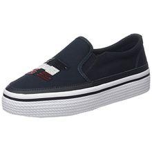 Tommy Hilfiger Damen Tommy Sequins Flatform Sneaker, Blau (Midnight 403), 36 EU